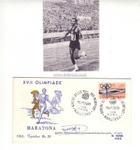 authentic signature 1958 and handsigned FDC - Olympic Games ROM 1960,  reference: Peter Mueller